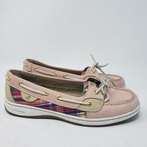 4796303fd Pink plaid women s Sperry slip-ons size 7